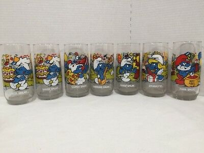 SMURF DRINKING GLASSES ~ Vintage 1982-1983 ~ Set of 7 ~1 Duplicate ~ Peyo