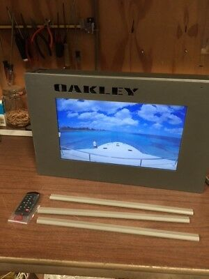 "Oakley Video/Graphic Two Sided Display 20"" x 12.75"" x 3""/15.5"" Screen Size Rare"