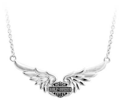 Harley-Davidson Womens Classic Double Wing B&S Chain Necklace, Silver HDN0405-16