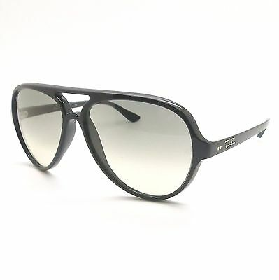 d1d35ace56a30 AUTHENTIC RAY BAN 4125 601 32 Black Cats 5000 Aviator Sunglasses New ...