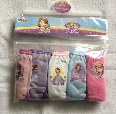 Little Girls Pack Of 5 Sofia the First Briefs/Knickers Age 18/24months New Pack
