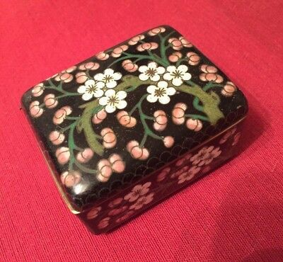 Black Cloisonne Footed Box Vintage Chinese or Japanese