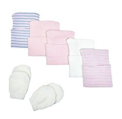 5 Piece Hospital Hat & Mitten Set for Newborn Baby (girl) by Nurses Choice