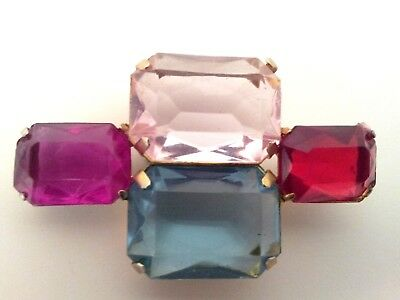 Antique Vintage Purple Blue Pink Red Stone Brooch / Pin