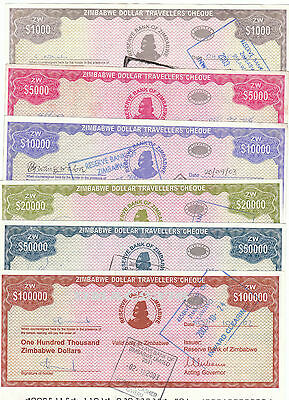 Complete Set Of 6 Zimbabwe Travellers Cheques 2003 P15 P16 P17 P18 P19 P20 Rare!