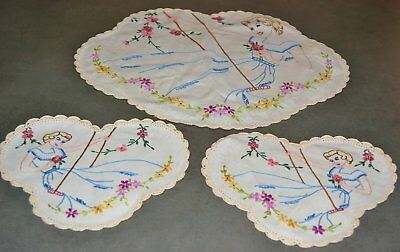 VINTAGE HAND EMBROIDERED DUCHESS/DRESSING TABLE SET 1940's 'GIRL ON A SWING'