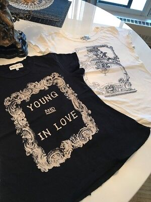 Lot of 2 Wildfox Couture T shirts Babydoll Style Vintage Distressed Black White