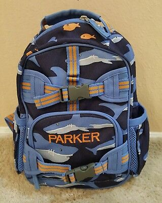 "Pottery Barn Kids Small Blue Shark Backpack Name ""parker"" Embroidered"