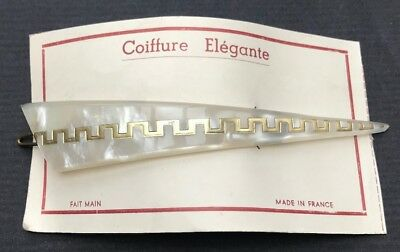 Vintage French Lucite 13cm Clip White and Gold Coiffure Elegante
