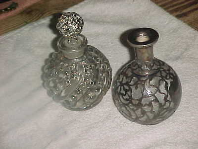 Pat 1886 STERLING OVERLAY PERFUME BOTTLE - AND ANOTHER  -  ESTATE