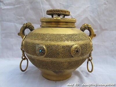 Chinese Royal Classical pure Bronze 24K Gold Ancient writing Vase pot