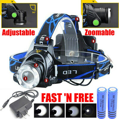 90000LM T6 LED Rechargeable Zoomable Headlamp Tactical Headlight+2*18650+Charger