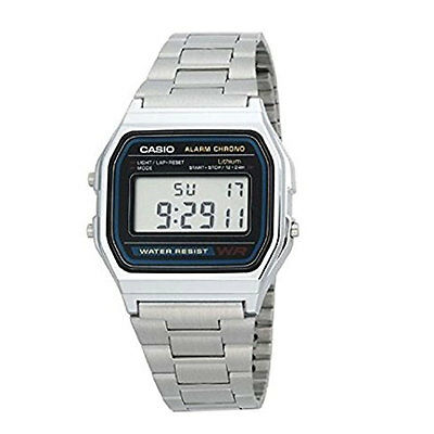 Casio Men's A158WA-1CR Stainless Steel Digital Wrist Watch Water Resistant NIB