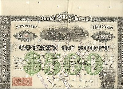 County of Scott, IL in aid of Rockford Rock Island & St. Louis RR $500 Bond 1870