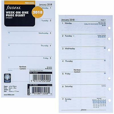 2018 Filofax Personal Size Refill 18-68426, Week On One Page, 95mm x 171mm