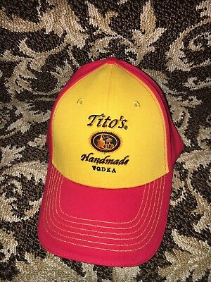 Adjustable Red / Gold Tito's Vodka Cap Hat NWT