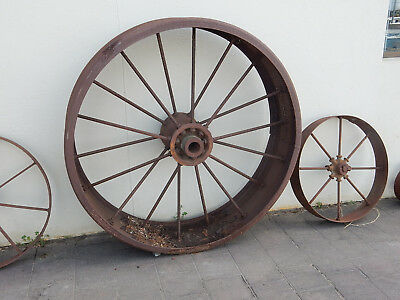 Steel Wheel 125Cm Diam Vintage Farm Machinery Wheels Antique Rustic Range