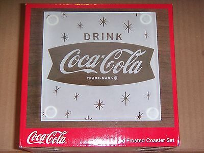 NEW!  Coca-Cola Frosted Glass Coasters - SET OF 4 / DRINK COCA-COLA