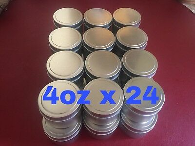 4oz X 24 Deep Metal Round Tins Slip Cover Candles, Cosmetics, Survival, 24-Pack