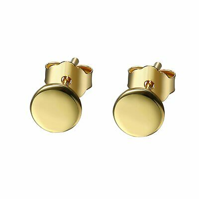 Womens 925 Sterling Silver Gold Small Round Circle Ear Stud Earrings Jewelry