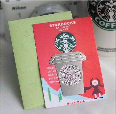 Starbucks Coffee Cup Mini Bookmark Cute Page Marker Silver Stationery (Gift)