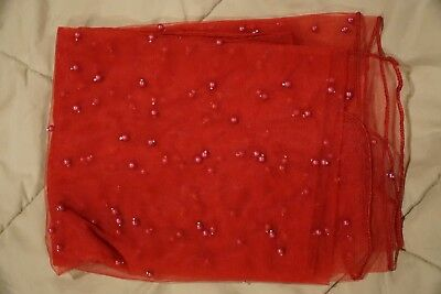 indian / pakistani net dupatta, red with beads