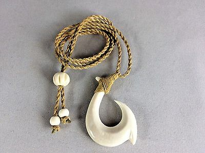 """Hawaiian Fishhook Necklace Carved From Buffalo Bone 2"""" tall.With Adjustable cord"""