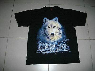 WHITE WOLF WOLF PACK BLACK Good Quality Tee LARGE