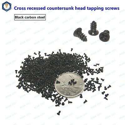 New M1.4 M1.7 M2 M2.6 Black Steel Phillips Cross Countersunk Head Tapping Screws
