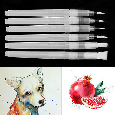 6X Water Color Brush Refillable Pen Watercolor Color Supplies Painting Art Tools