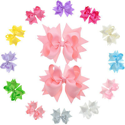 Flower Hair Bows for Girls and Toddler, 5-Inch, Pack of 12 Assorted Colors