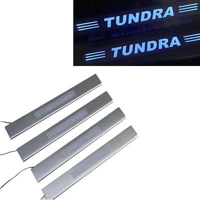 4pc LED light Car 4 Door sill scuff plate Guard Sills for Toyota Tundra 2008-15