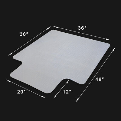 1/8 inch Thickness Office Chair Mat 48 x 36 inch Anti-Slip Rectangular With Lip
