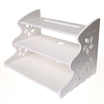 Hollow Carved 3 Tier Floating Wall Mounted Shelf for TV CD DVD Bookcase Storage