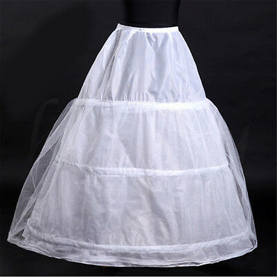 Charm 3-Hoop White Prom Wedding Bridal Crinoline Petticoat Dress Underskirt