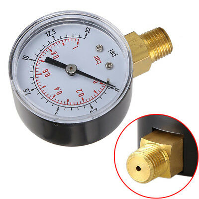 Low Pressure Gauge for Fuel Air Oil Gas Water 50mm 0-15 PSI 0-1 Bar 1/4 BSPT