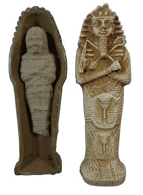 "Egyptian King Tut Tomb Coffin Mummy Figure 3d Statue Pharaoh 6"" Sculpture 201"