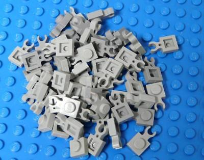 LEGO Plate Modified 1 x 1 with Clip Vertical Type 1 thin open O clip Gray x54PC