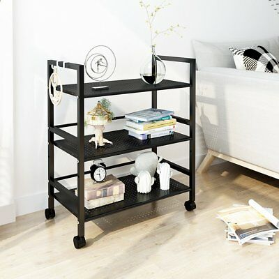 LANGRIA 3-TIER MESH Wire Rolling Kitchen Cart, Microwave ...