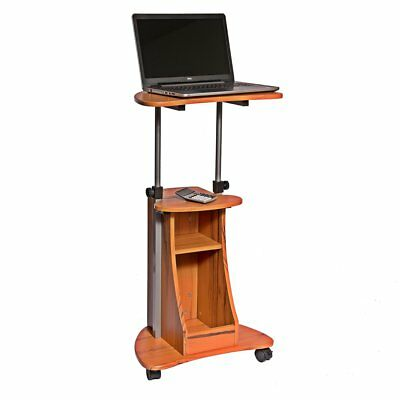 Adjustable Height Laptop Cart With Storage. Color: Woodgrain