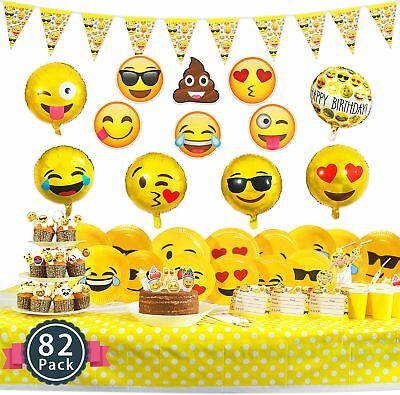 Melonboat Emoji Party Supplies 82 Ct Birthday Decorations Kit Face Cards Foil