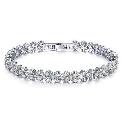 Women's Fashion Roman Chain Clear Zircon Crystal Bangle Rhinestone Bracelet Gift