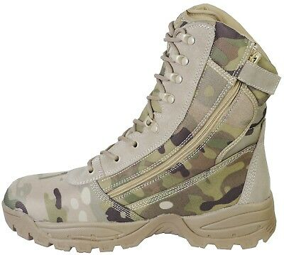 Side Zip Desert Camo Commander Army Patrol Combat Boots Airsoft Military