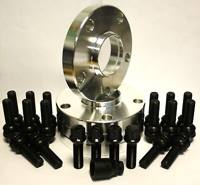 4 X 15Mm Wheel Spacers + Black Oe-R Bolts & Locking Fit For Vw Transporter T5