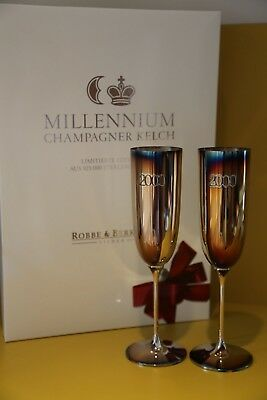 NEW - Robbe & Berking Millennium Edition Champagne Flutes 925 Sterling Silver