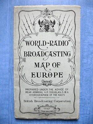 World-Radio Broadcasting Map of Europe - BBC (1928) V Good condition UNCOMMON