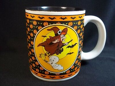 Casper the Ghost Halloween coffee mug Vintage 1986 bats black interior 8 oz
