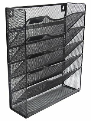 EasyPAG 6 Tier Mesh Wall Mounted File Organizer Mail Holder Rack,Black