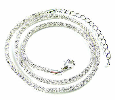 Necklace Chain Mesh Tube Round Silver Plate Adjustable 18 19 20 Inch, 3mm Thick