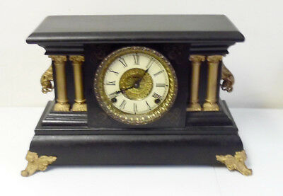 Antique Unsigned New England 8 Day Time & Strike Mantle Clock ~ Free Shipping